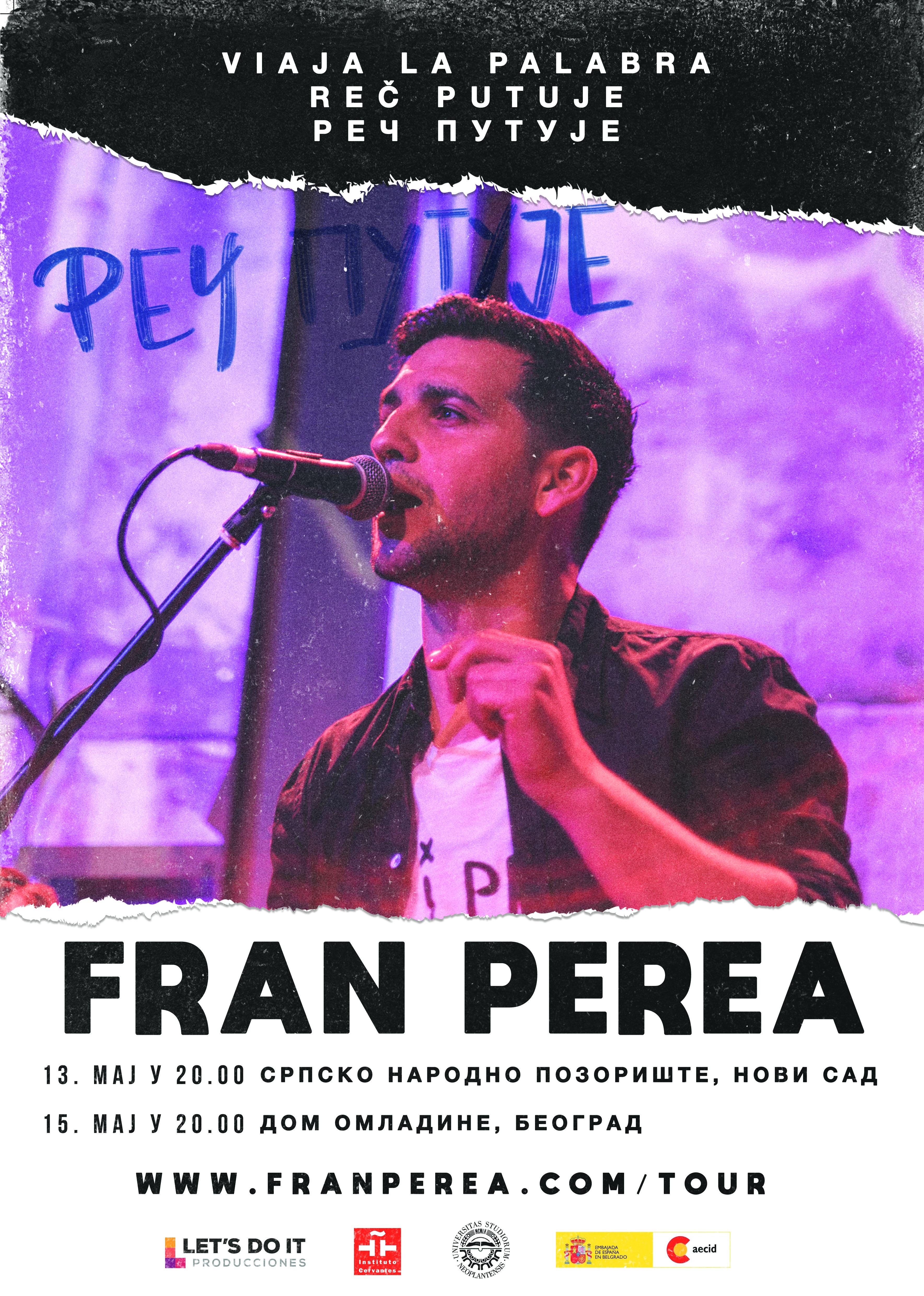 Fran Perea premijerno u Srbiji predstavlja svoj muzički projekat Reč putuje