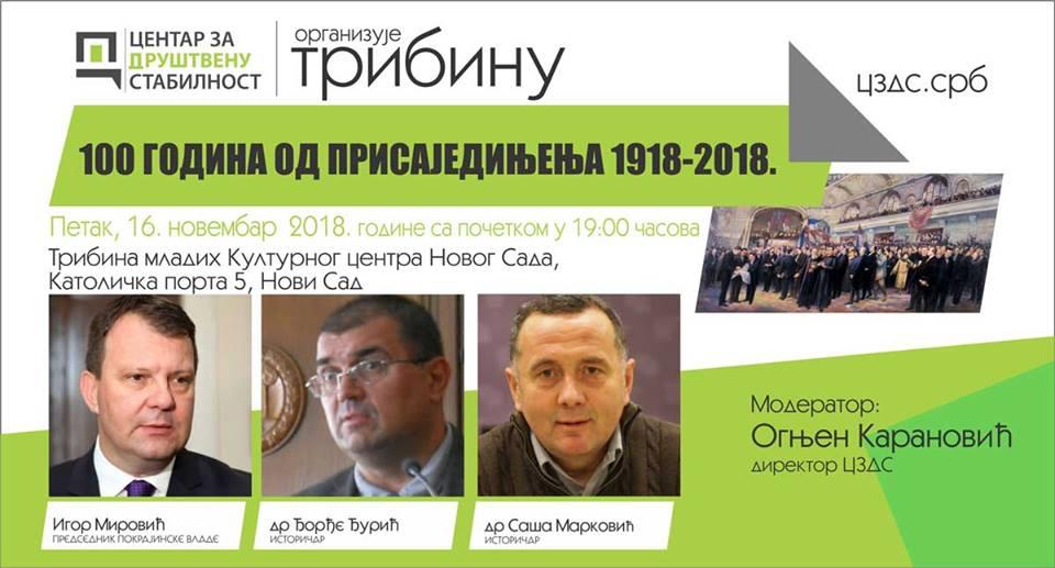 """Tribina """"100 godina od prisajedinjenja 1918-2018"""" 16. novembra u klubu """"Tribina mladih"""""""